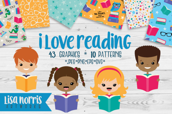 I Love Reading Clip Art Graphics, Patterns Graphic Illustrations By Lisa Norris Artworks