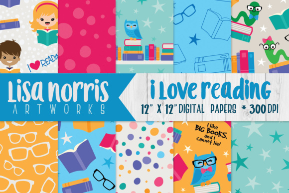 I Love Reading Digital Papers Graphic Backgrounds By Lisa Norris Artworks