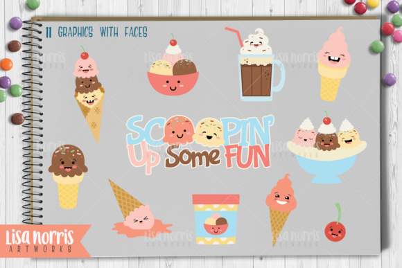 Ice Cream Treats Clip Art Graphics & SVG Cutting Files Graphic By Lisa Norris Artworks Image 2