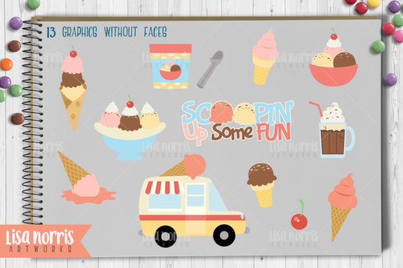 Ice Cream Treats Clip Art Graphics & SVG Cutting Files Graphic By Lisa Norris Artworks Image 3