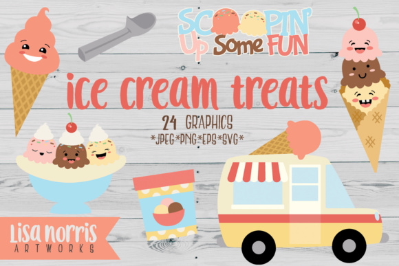 Download Free Ice Cream Treats Clip Art Graphics Svg Cutting Files Graphic for Cricut Explore, Silhouette and other cutting machines.