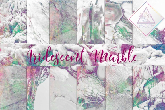 Print on Demand: Iridescent Marble Digital Paper Graphic Textures By fantasycliparts