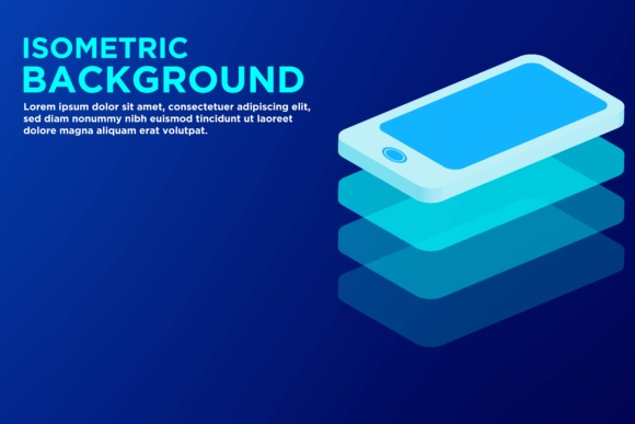 Print on Demand: Isometric Smart Phone Background Graphic Backgrounds By yahyaanasatokillah