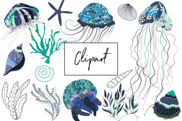 Print on Demand: Jelly Fish Glitch  - Clipart and Patterns Under the Sea Graphic Illustrations By illuztrate - Image 3
