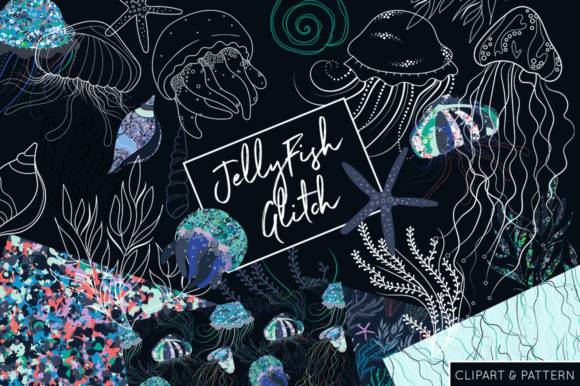 Print on Demand: Jelly Fish Glitch  - Clipart and Patterns Under the Sea Graphic Illustrations By illuztrate