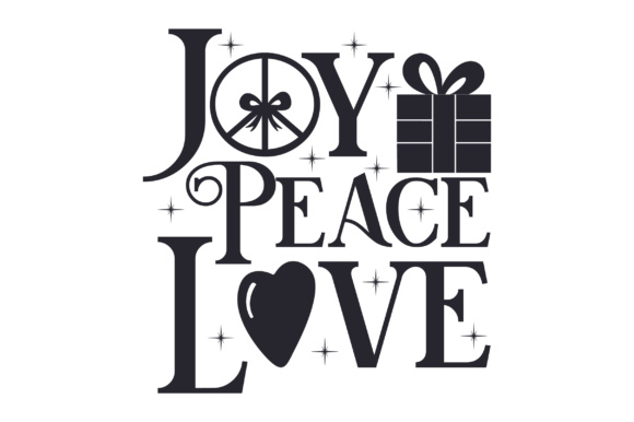 Joy Peace Love Christmas Craft Cut File By Creative Fabrica Crafts - Image 2