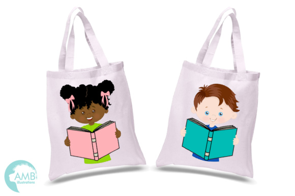 Kids Reading Clipart, Multi-cultural Kids Clipart Graphic Illustrations By AMBillustrations - Image 2