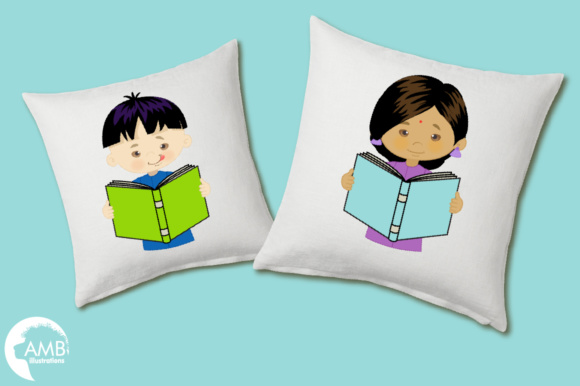 Kids Reading Clipart, Multi-cultural Kids Clipart Graphic Illustrations By AMBillustrations - Image 3