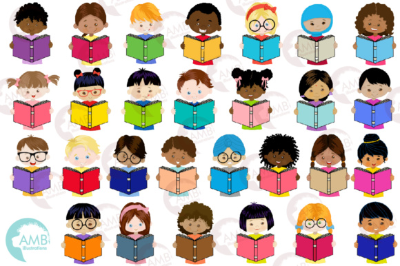 Kids Reading Clipart, Multi-cultural Kids Clipart Graphic Illustrations By AMBillustrations - Image 4