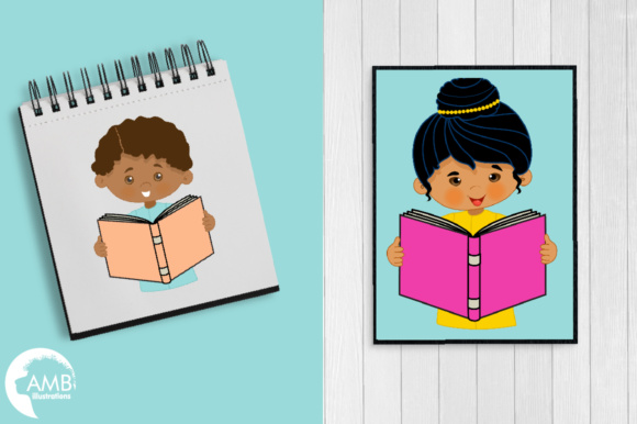 Kids Reading Clipart, Multi-cultural Kids Clipart Graphic Illustrations By AMBillustrations - Image 5