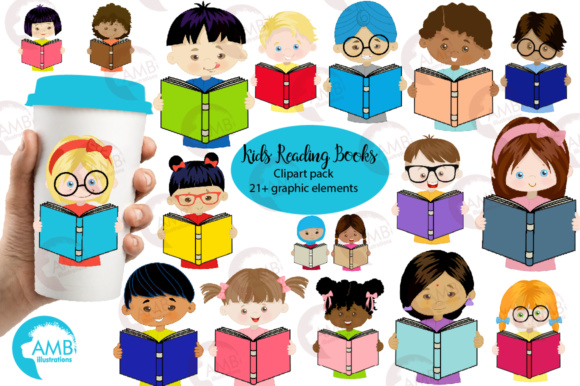 Kids Reading Clipart, Multi-cultural Kids Clipart Graphic Illustrations By AMBillustrations