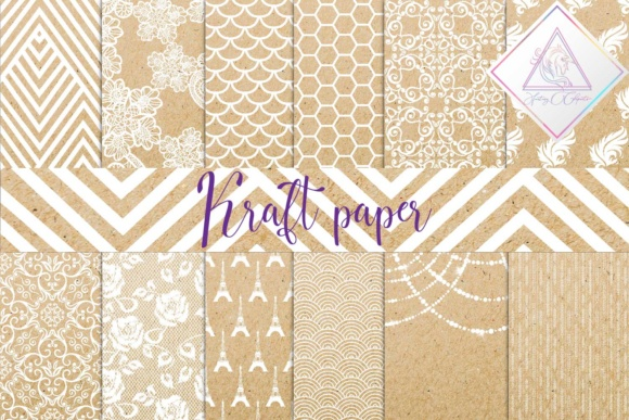 Print on Demand: Kraft Digital Paper Graphic Backgrounds By fantasycliparts