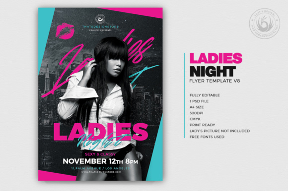 Ladies Night Flyer Template V8 Graphic Print Templates By ThatsDesignStore - Image 2