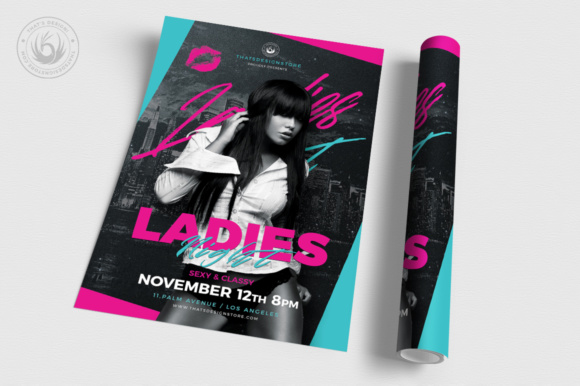 Ladies Night Flyer Template V8 Graphic Print Templates By ThatsDesignStore - Image 3