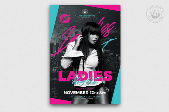Ladies Night Flyer Template V8 Graphic Print Templates By ThatsDesignStore - Image 1