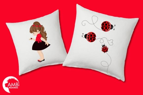 Ladybug Girls Clipart Graphic Illustrations By AMBillustrations - Image 3