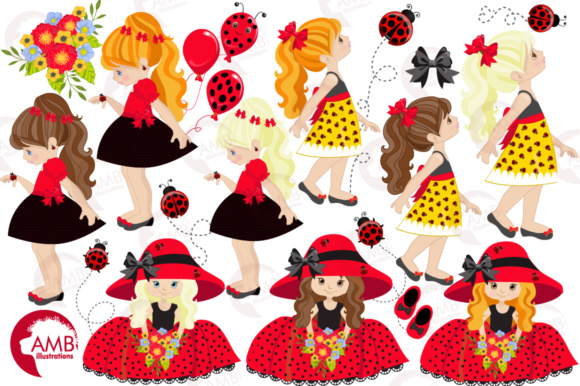 Ladybug Girls Clipart Graphic Illustrations By AMBillustrations - Image 4