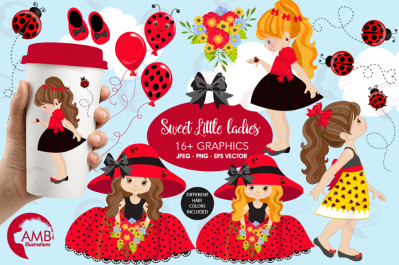 Ladybug Girls Clipart Graphic Illustrations By AMBillustrations