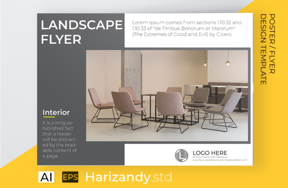 Landscape Flyer Interior Chair Graphic Print Templates By harizandy - Image 3