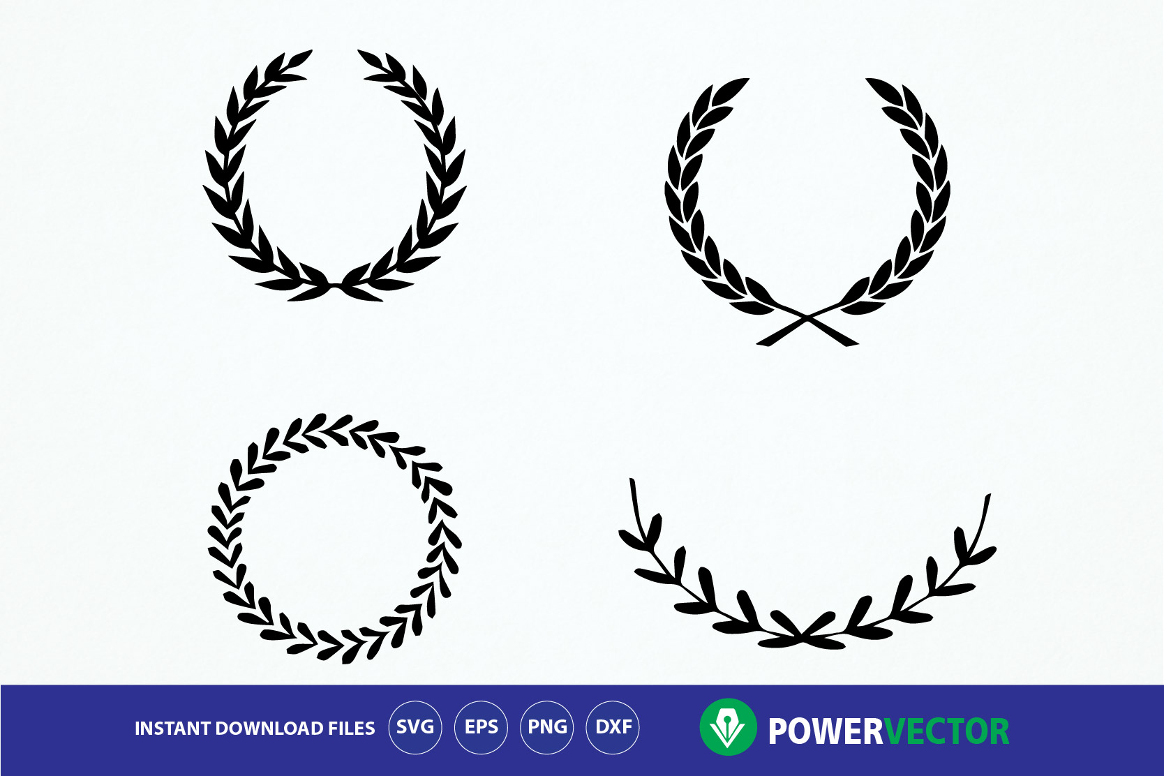 Download Free Laurel Wreaths Graphic By Powervector Creative Fabrica for Cricut Explore, Silhouette and other cutting machines.
