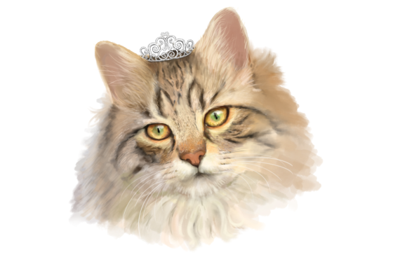 Lifelike 'Princess Cat with a Tiara' | PNG/JPEG Illustration Graphic By Jen Digital Art Image 2
