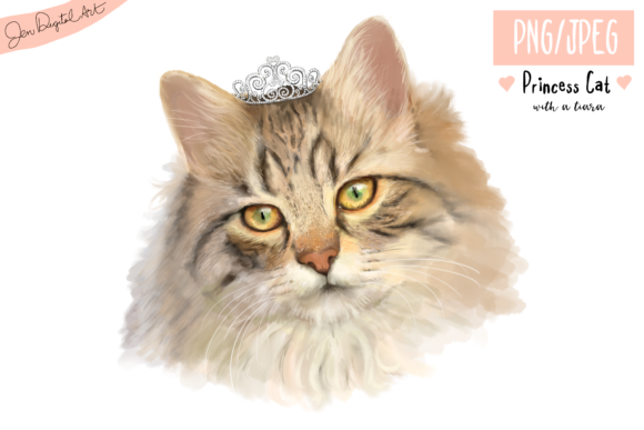 Lifelike 'Princess Cat with a Tiara' | PNG/JPEG Illustration Graphic By Jen Digital Art