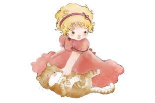 Little Girl and Cat Graphic By Jen Digital Art