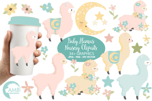 LlamaBaby Clipart Graphic Illustrations By AMBillustrations