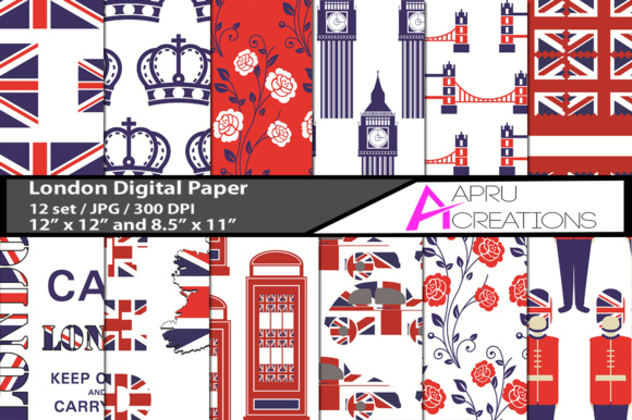 Download Free London Digital Patterns Graphic By Aparnastjp Creative Fabrica for Cricut Explore, Silhouette and other cutting machines.