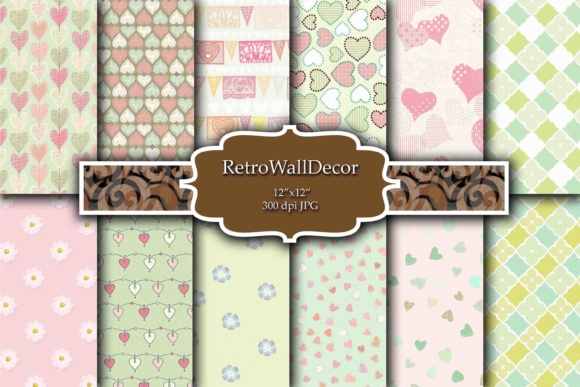 Print on Demand: Love Digital Paper Graphic Backgrounds By retrowalldecor - Image 1