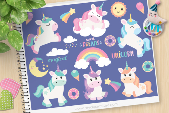 Download Free Magical Unicorns Clipart Graphic By Myclipartstore Creative for Cricut Explore, Silhouette and other cutting machines.