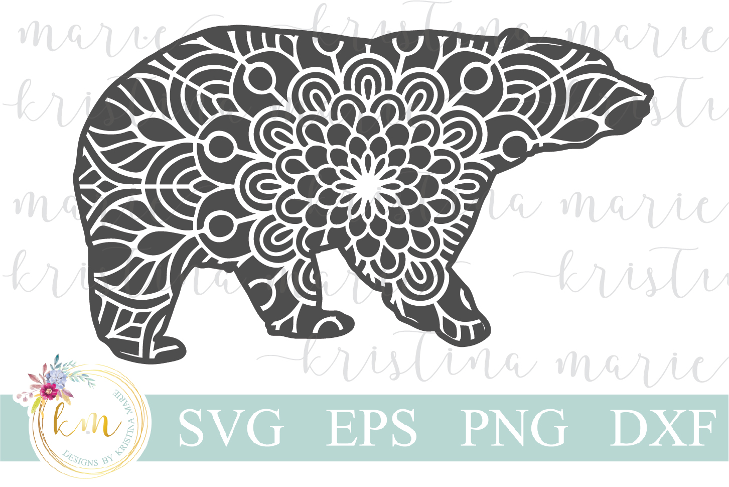 Download Free Mandala Bear Cut File Graphic By Kristina Marie Design for Cricut Explore, Silhouette and other cutting machines.
