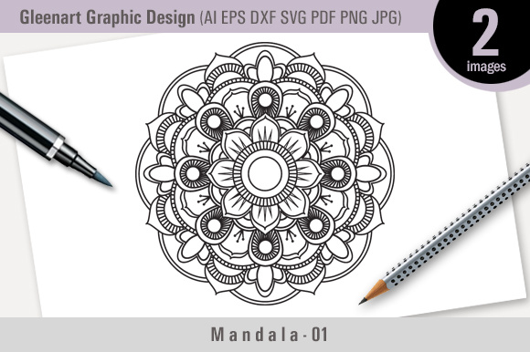 Download Free Mandala Vector Design Graphic By Gleenart Graphic Design for Cricut Explore, Silhouette and other cutting machines.