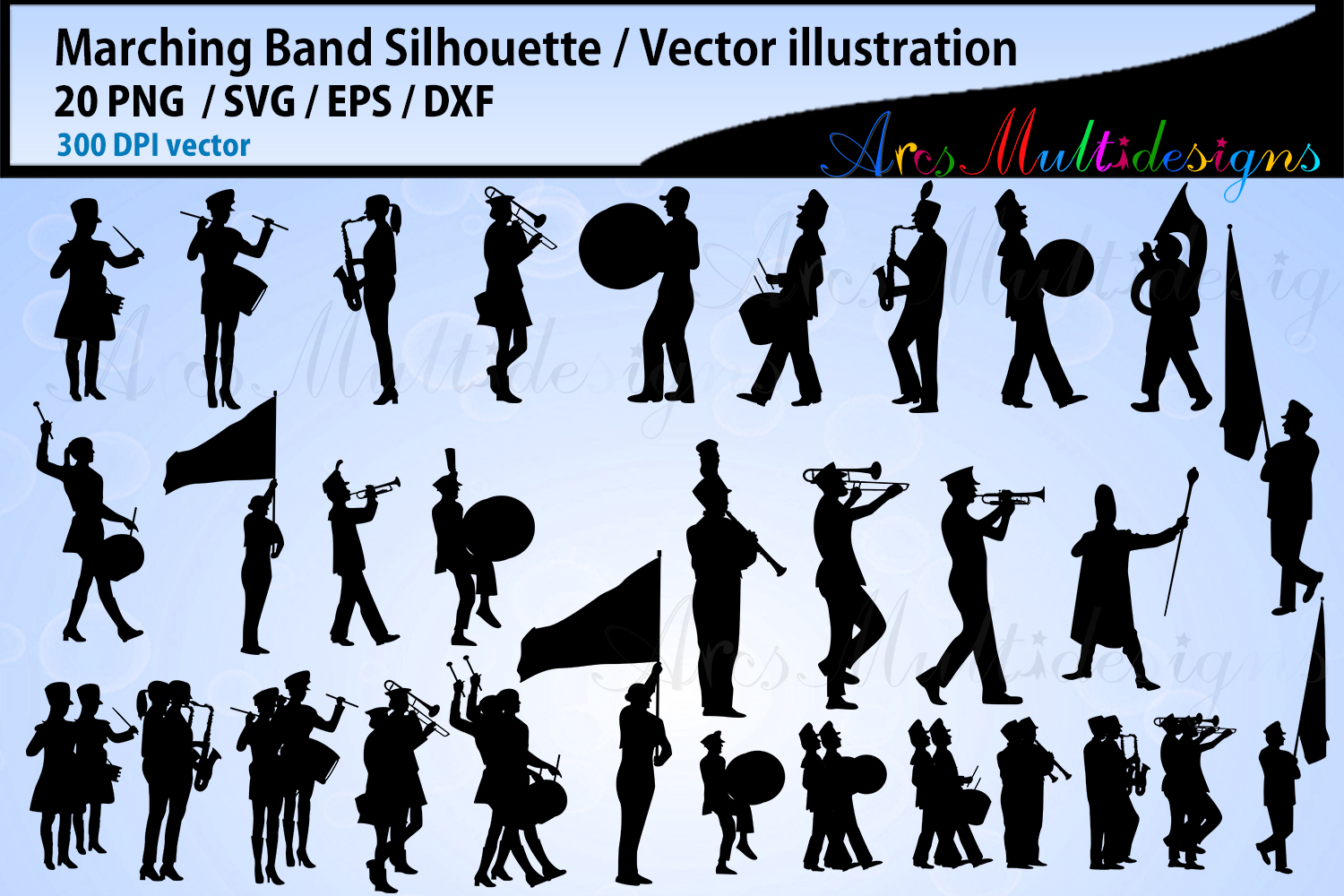 Download Free Marching Band Silhouette Bundle Graphic By Arcs Multidesigns for Cricut Explore, Silhouette and other cutting machines.