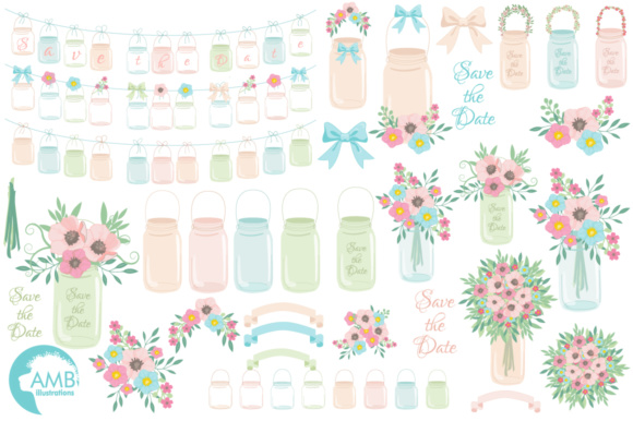 Mason Jar Florals Clipart Graphic Illustrations By AMBillustrations - Image 4