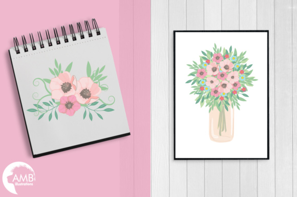 Mason Jar Florals Clipart Graphic Illustrations By AMBillustrations - Image 5
