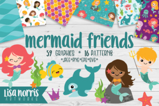 Download Free Mermaid Friends Clip Art Patterns Graphic By Lisa Norris for Cricut Explore, Silhouette and other cutting machines.