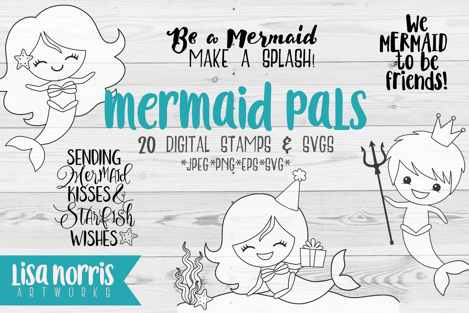 Download Free Mermaid Pals Digital Stamps And Svg Cutting Files Graphic By for Cricut Explore, Silhouette and other cutting machines.