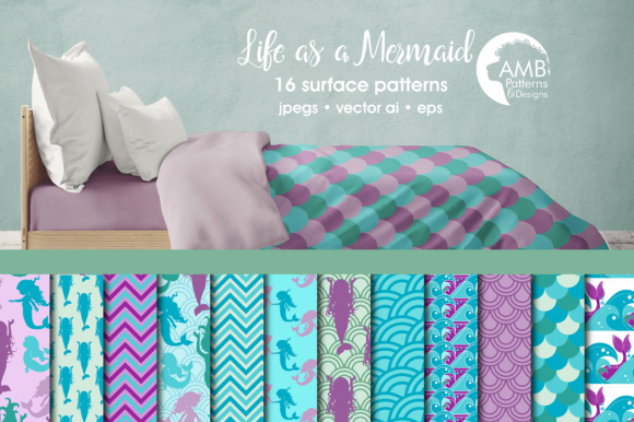 Mermaid Papers AMD Graphic Patterns By AMBillustrations