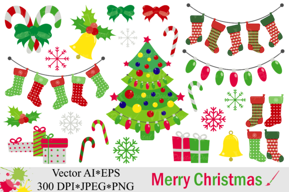 Merry Christmas Clipart - Vector Graphic Illustrations By VR Digital Design
