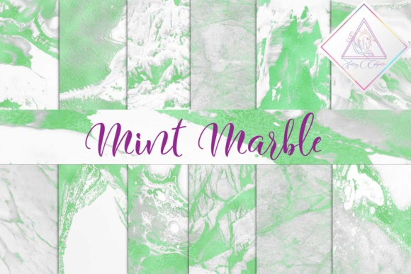 Print on Demand: Mint Marble Digital Paper Graphic Textures By fantasycliparts