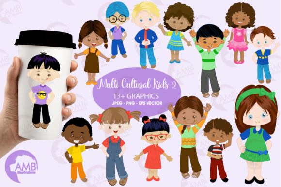 Multi Ethnic Kids Graphic Illustrations By AMBillustrations