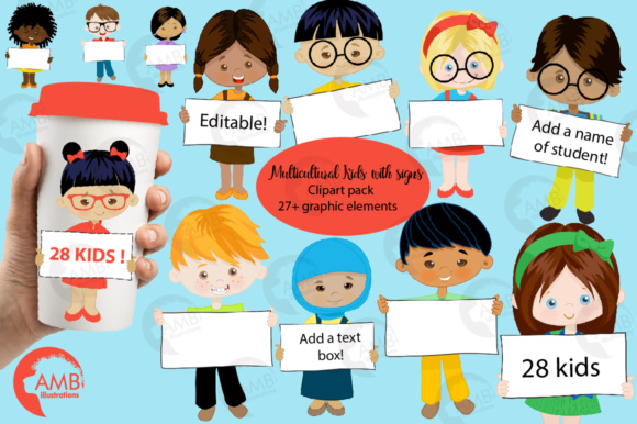 Multi Cultural Kids with Signs Clipart Graphic Illustrations By AMBillustrations