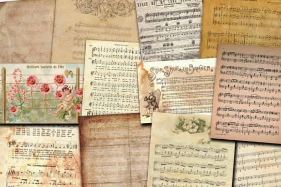 Print on Demand: Music Digital Paper Graphic Illustrations By retrowalldecor