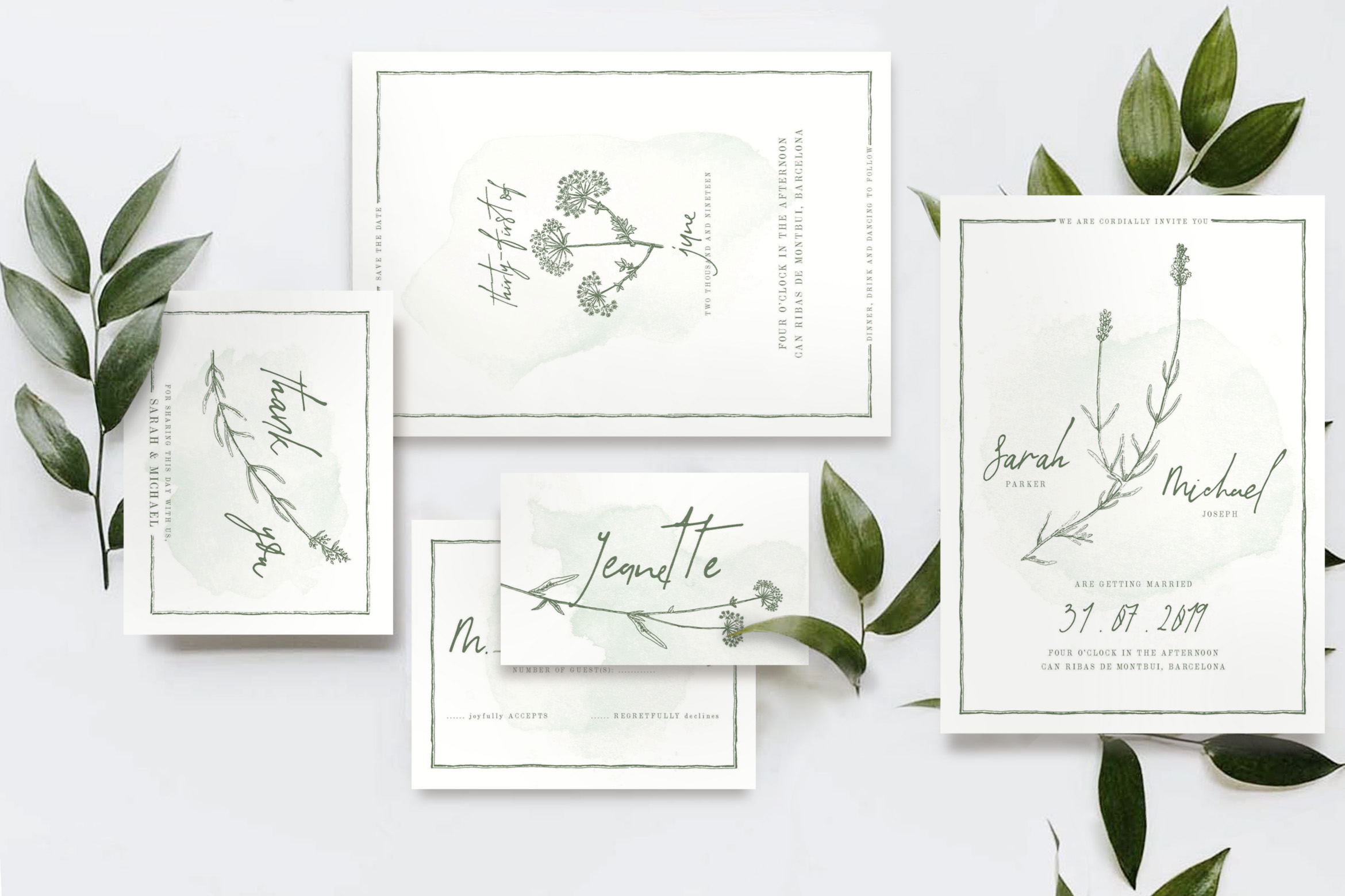 Download Free Natural Floral Wedding Invitation Suite Graphic By Blue Robin for Cricut Explore, Silhouette and other cutting machines.