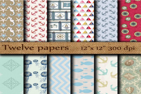 Nautical Digital Paper Graphic Backgrounds By twelvepapers - Image 1