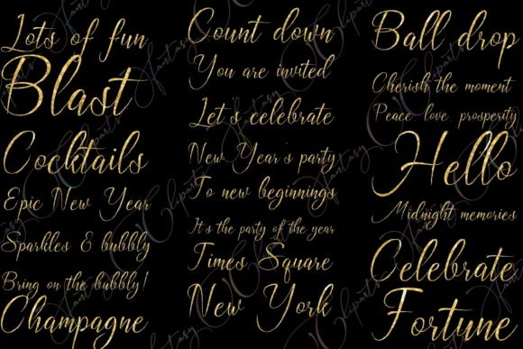 Download Free New Year Word Art Clipart Graphic By Fantasycliparts Creative for Cricut Explore, Silhouette and other cutting machines.