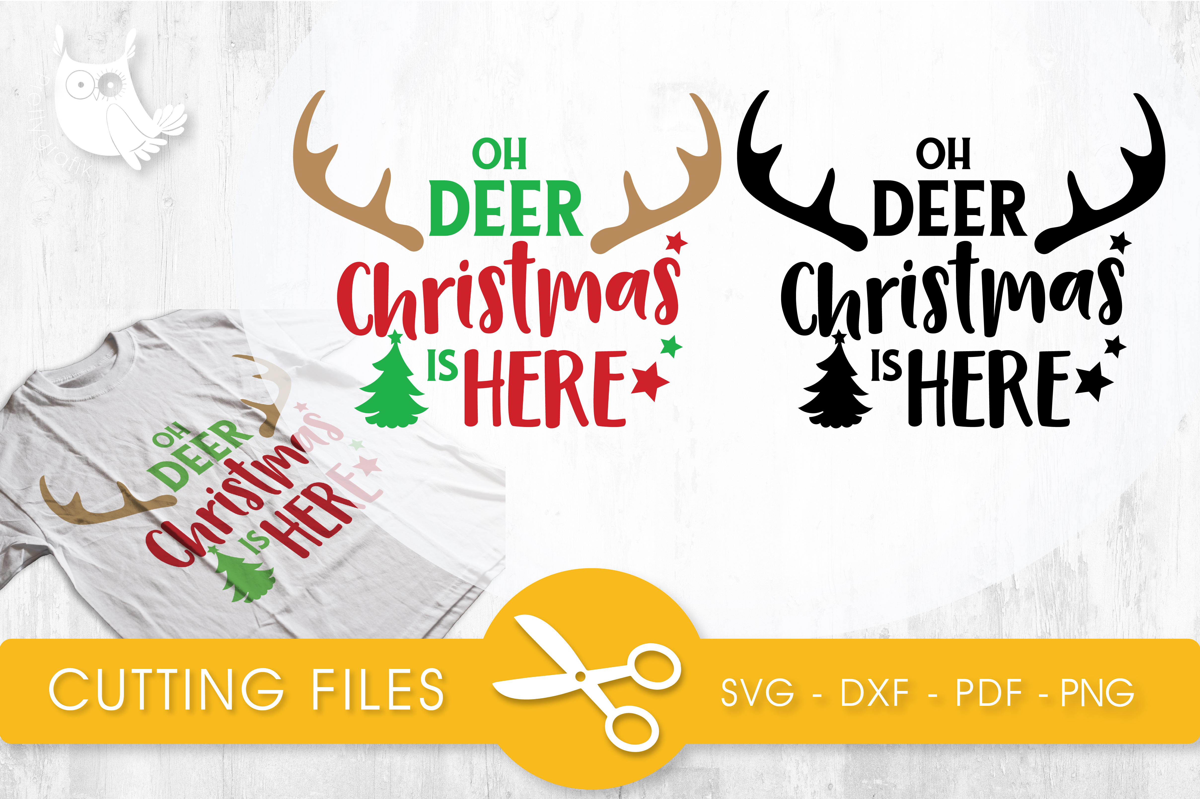 Download Free Oh Deer Christmas Is Here Graphic By Prettycuttables for Cricut Explore, Silhouette and other cutting machines.