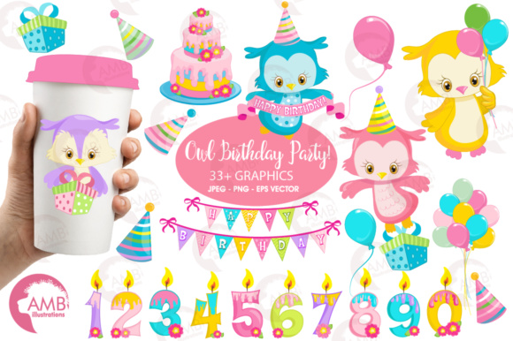 Owl Birthday Clipart Graphic Illustrations By AMBillustrations