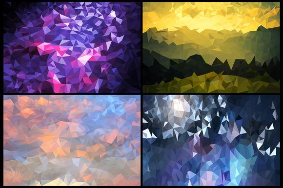 Pack with 10 Polygon Backgrounds Graphic Backgrounds By Vector City Skyline - Image 5
